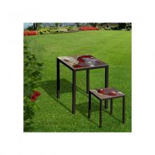 Tavolo e sgabello in pietra lavica Friends Red Rocks