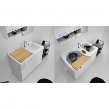 Lavatoio per interni con cesto portabiancheria 100x55xH89 Active Wash Statico