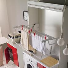 Stendibiancheria in legno per lavatoi e coprilavatrici Stender Bianco