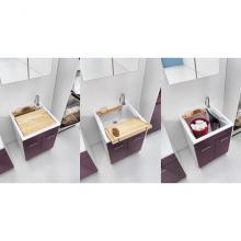 Lavatoio per interni 60x60xH86 con asse lavapanni e due ante Swash
