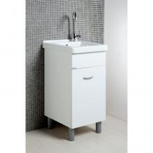 Lavatoio Oceano 45x50 cm con vasca in ceramica e tavola in legno