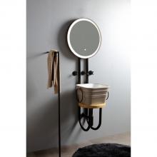Struttura in metallo con specchio retroilluminato Strapuntino