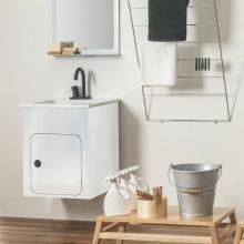 Struttura portalavabo cm 52x50 con lavabo in ceramica Alluminium