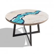 Tavolo moderno in legno e lava incassata River