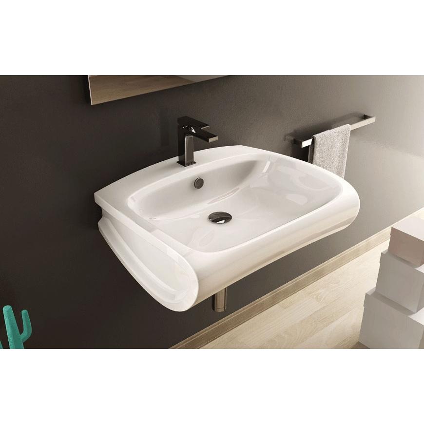 Lavandino lavabo sospeso design hi line in ceramica bianca for Altezza lavabo sospeso