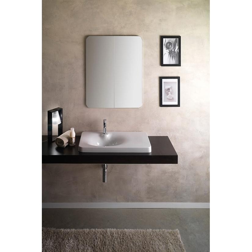 Lavandino lavabo bagno da incasso design fuji in ceramica 2 misure ebay - Misure lavabo bagno ...