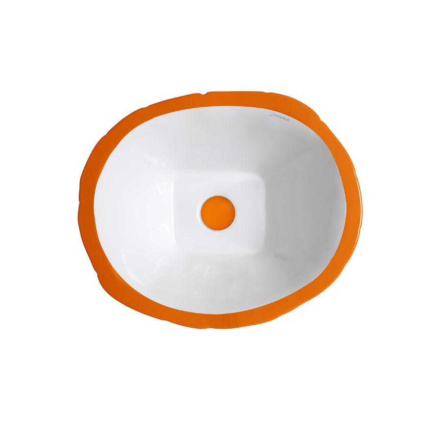 Lavabo Appoggio/Sospeso Ovale Terra Arancio Energia Lucido