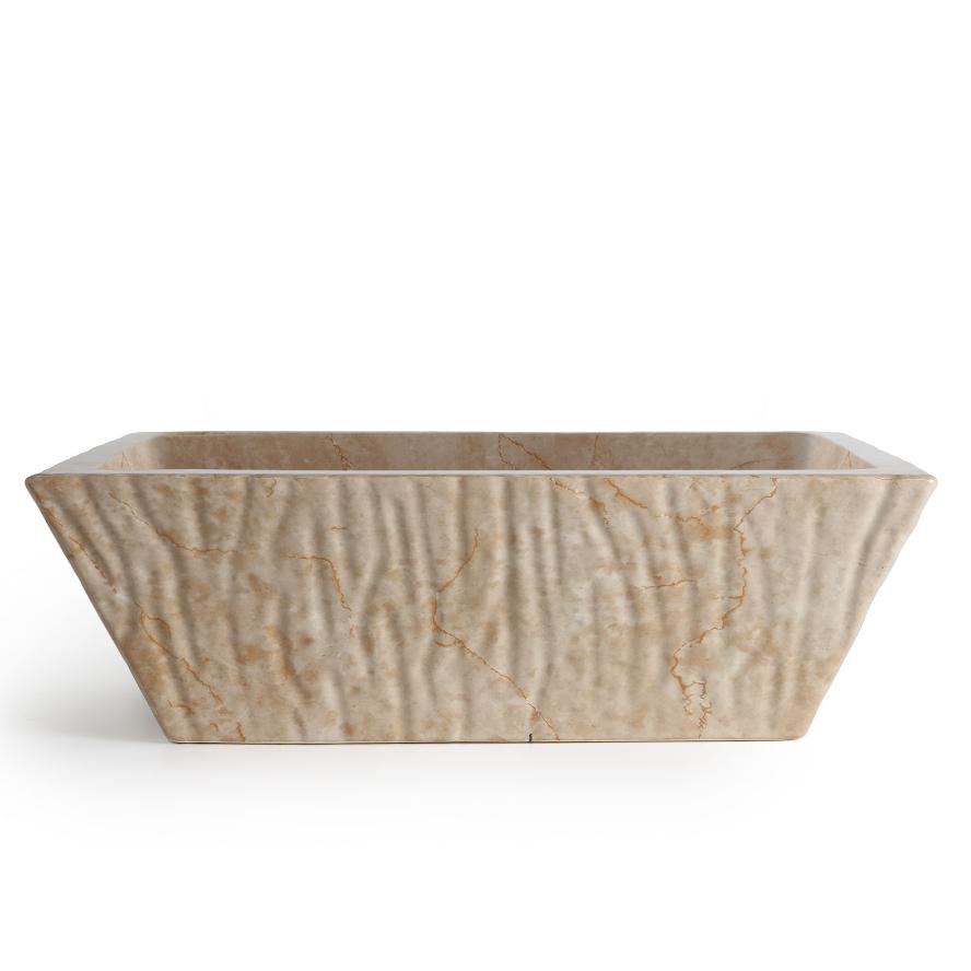 Lavabo appoggio sospeso rettangolare pietra travertino for Altezza lavabo sospeso