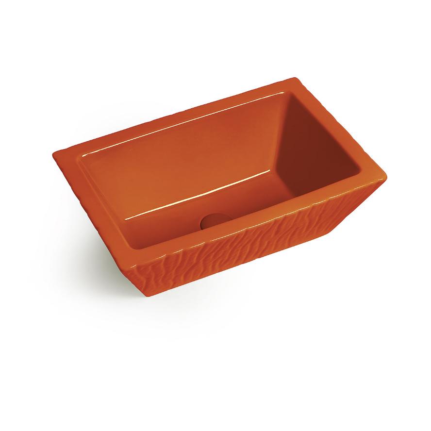 Lavabo Appoggio/Sospeso Rettangolare Pietra Arancio Energia Lucido