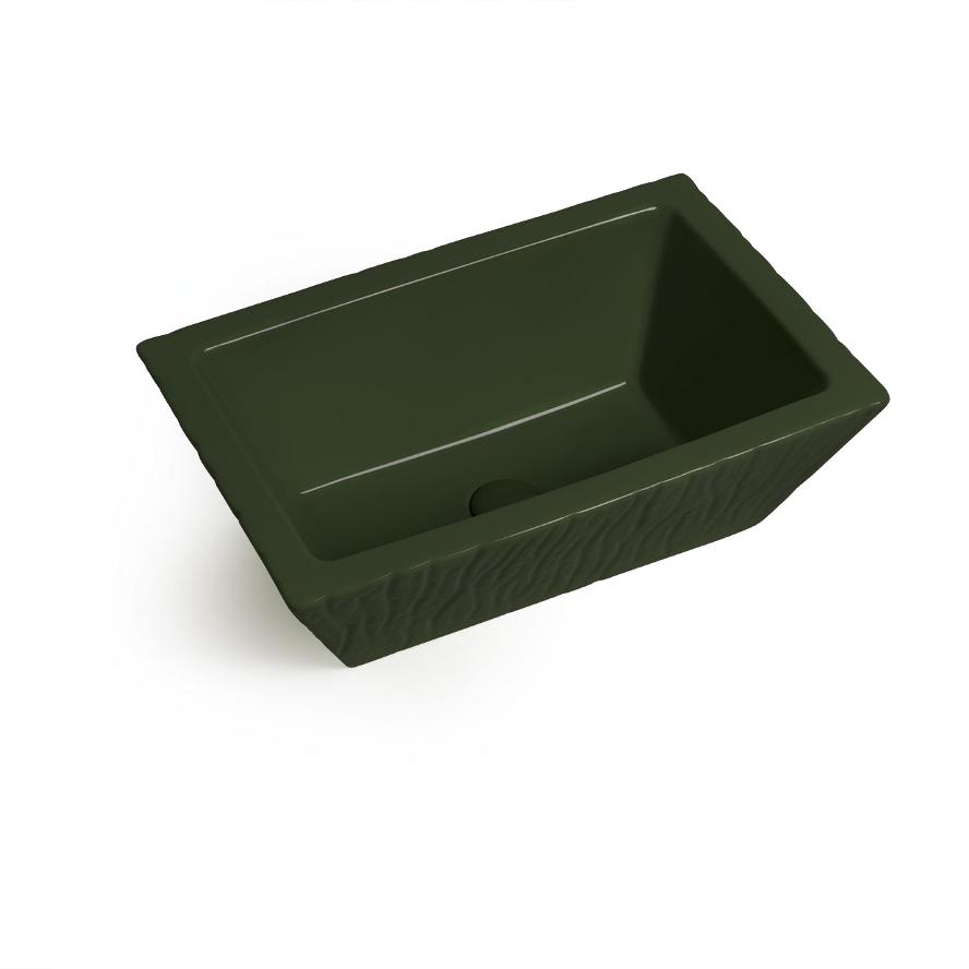Lavabo Appoggio/Sospeso Rettangolare Pietra Verde Inglese Lucido