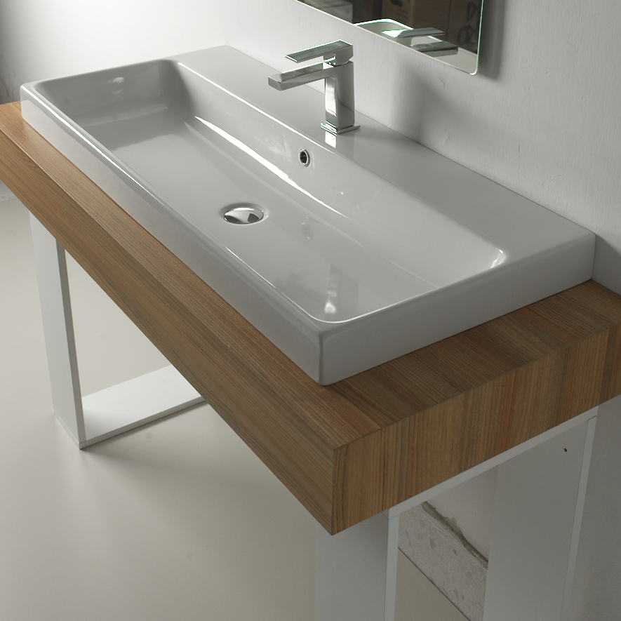 Lavandino lavabo moderno design consolle basic da appoggio for Consolle per lavabo da appoggio