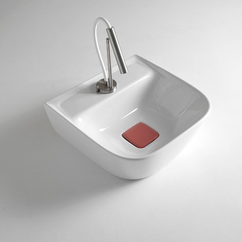 Lavabo Quadrato Soft con Piano Rubinetto