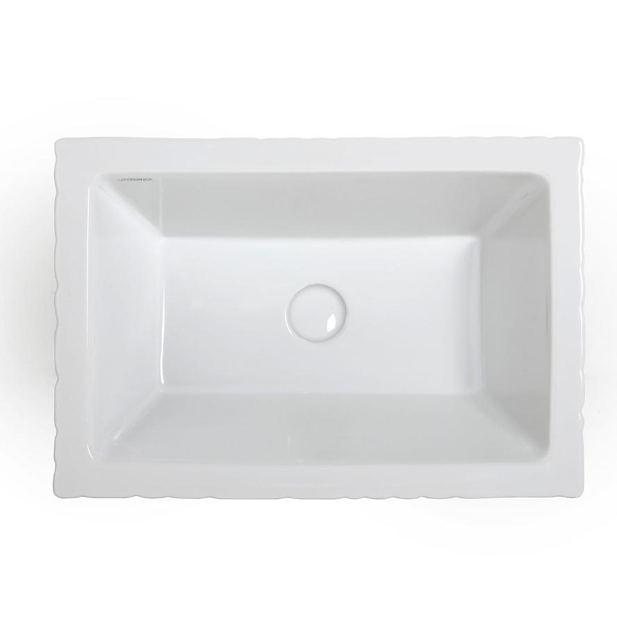 Lavabo Appoggio/Sospeso Rettangolare Pietra Bianco