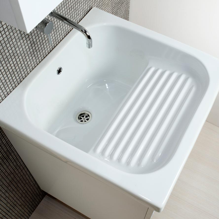 Mobile lavanderia bianco + ceramica Corallo