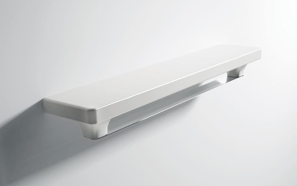 Mensola in ceramica e porta asciugamano in acciaio design - Mensola acciaio bagno ...