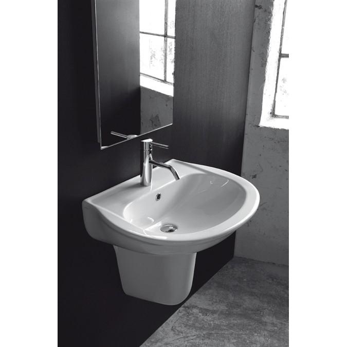 Lavandino lavabo con semi colonna sospeso design krio in ceramica bianca ebay - Arreda il tuo bagno ...