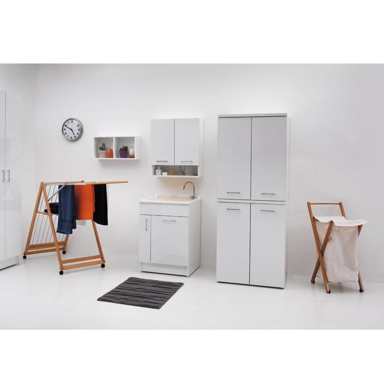 Lavatoio per interni 60x60x86 cm con lavapanni e portabiancheria Jollywash