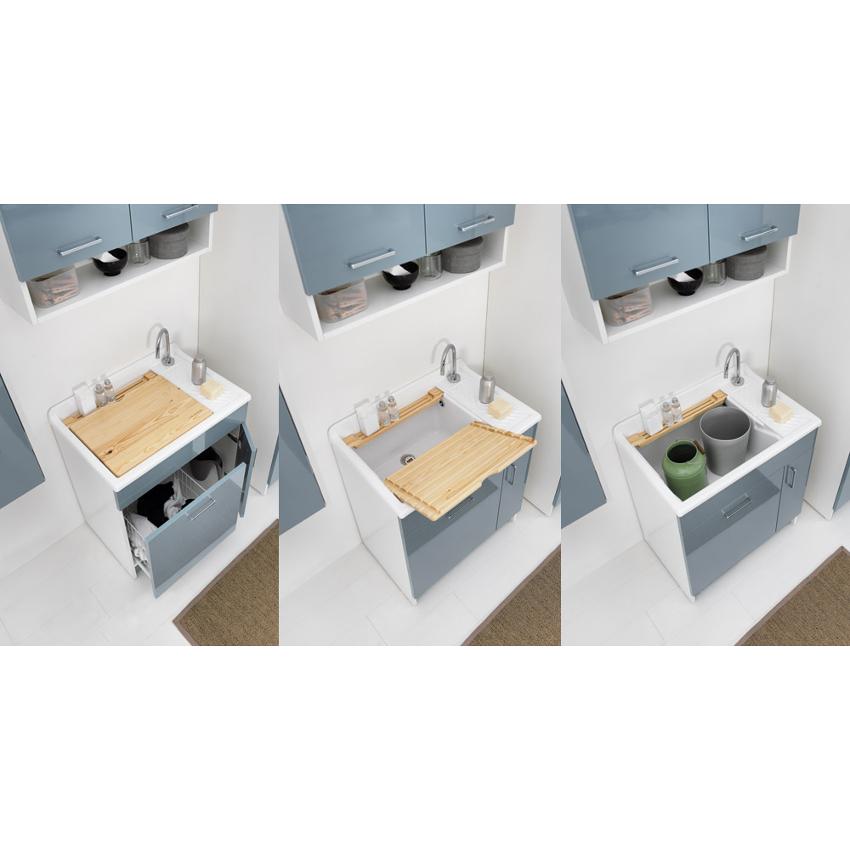 Lavatoio per interni con cesto lavapanni 75x50xH86 Lindo