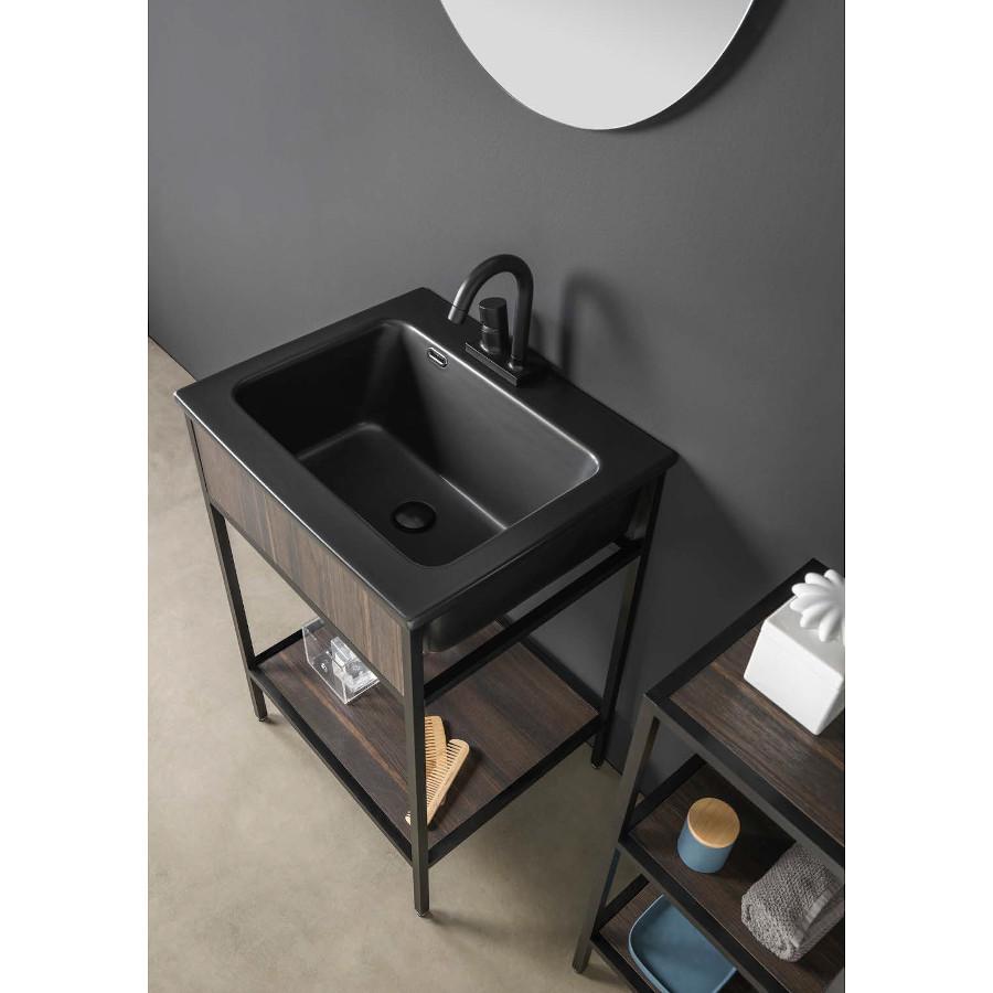 Struttura portalavabo con lavabo in ceramica nero e ripiano Skema