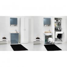 Lavatoio per interni con cesto portabiancheria 65x55xH89 Active Wash Statico