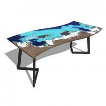 Tavolo moderno in pietra lavica e ferro Onda